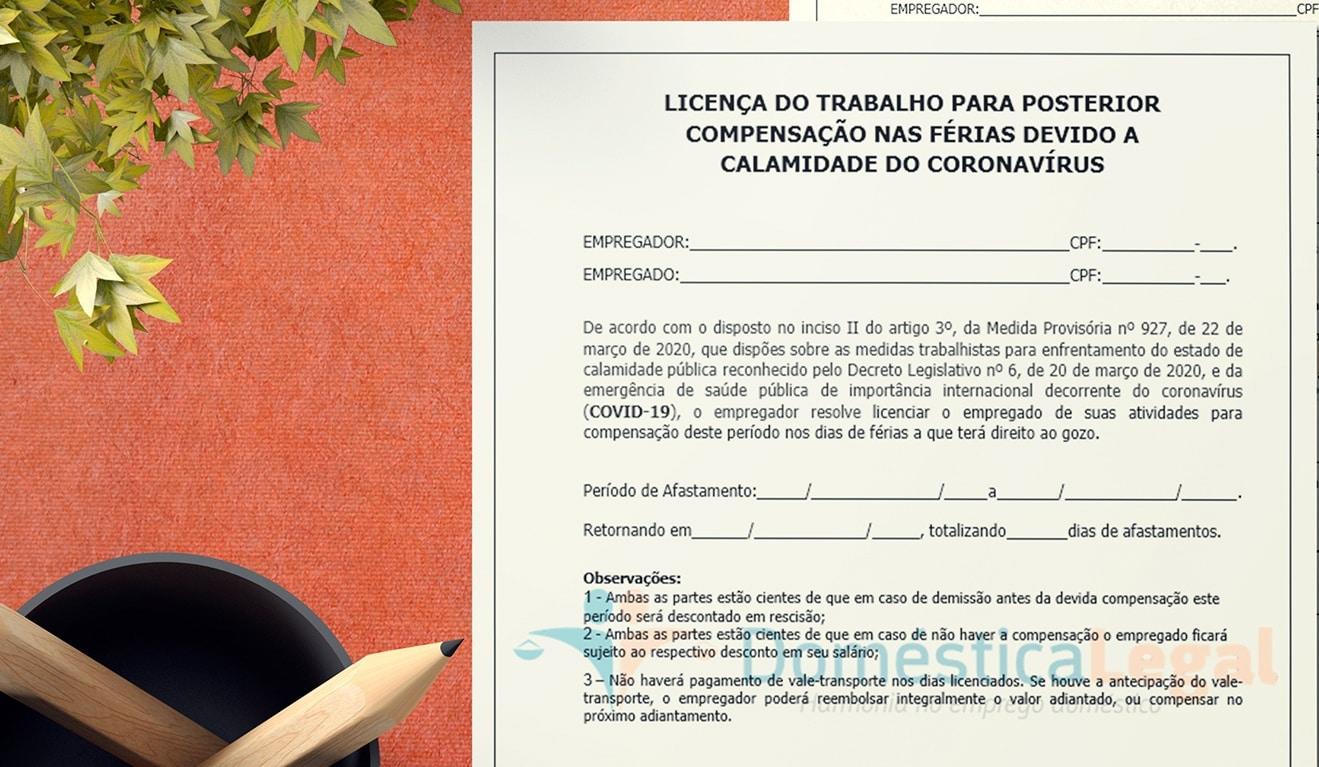 Licença do trabalho para posterior compensação nas férias